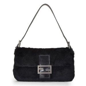 Fendi | Black Genuine Fur Baguette Bag